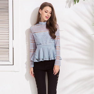 High Collar Lace Hollow Out Back Zipper Tops Blouse