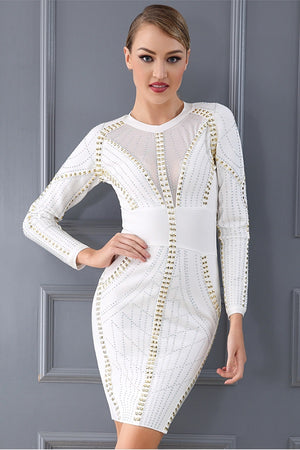 Chic Beading Bandage Long Sleeve Bodycon Party Mini Dress