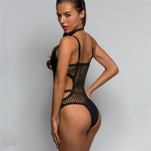 Hot Sheer Knit Net Mesh One Piece Swimwear Swimsuit