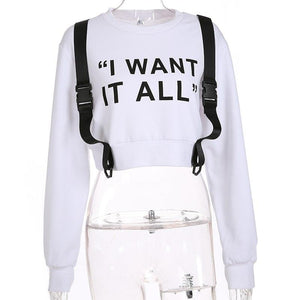 White Crop Top Long Sleeve Buckle Straps Hoodie Sweatshirt Verkadi.com