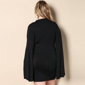 Sexy Cut Out V-Neck Choker Split Long Sleeve Mini Party Dress Verkadi.com