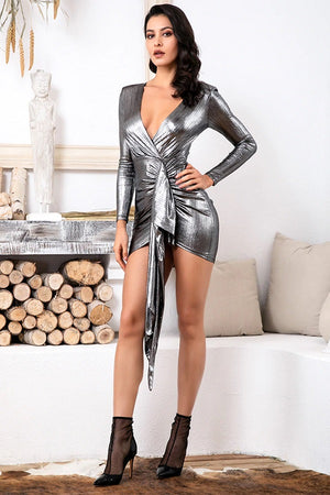 Chic Deep V-Neck Pleated Sparkling Bodycon Party Mini Dress