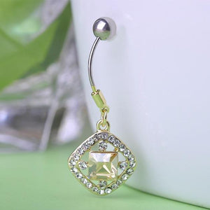 Crystal Rhinestones Square Shape Navel Piercing Bell Button Ring Verkadi.com