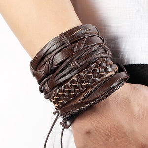 Hot Leather Multi Layered Punk Unisex Bracelet Set