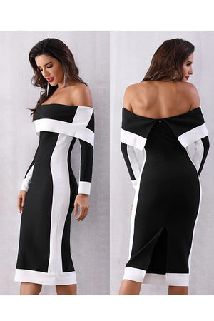 New Long Sleeve Off Shoulder Twin Color Midi Dress