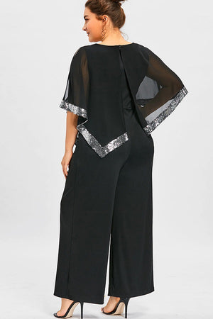 Smart Plus Size Sequined Overlay Wide Leg Jumpsuit Romper Dress