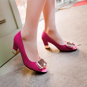 Peep Toe Crystal Rhinestone High Heel  Pumps Shoes Verkadi.com