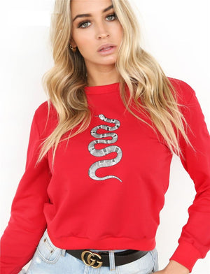 Hot Snake Print Long Sleeve Loose Sweatshirt Hoodie Verkadi.com