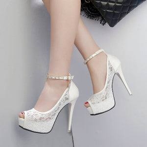 Elegant Peep Toe Thin High Heel Platform Party Pumps Sandals Shoes Verkadi.com