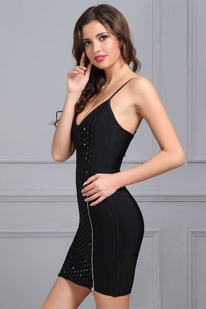 Sensual Sleeveless V Neck Bodycon Evening Party Mini Dress