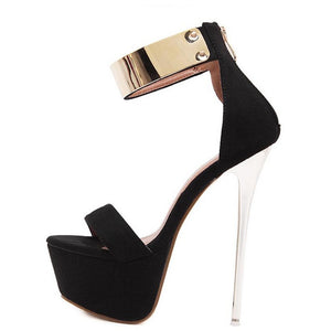 Ankle Strap High Heels Sequined Platform Pumps Sandals