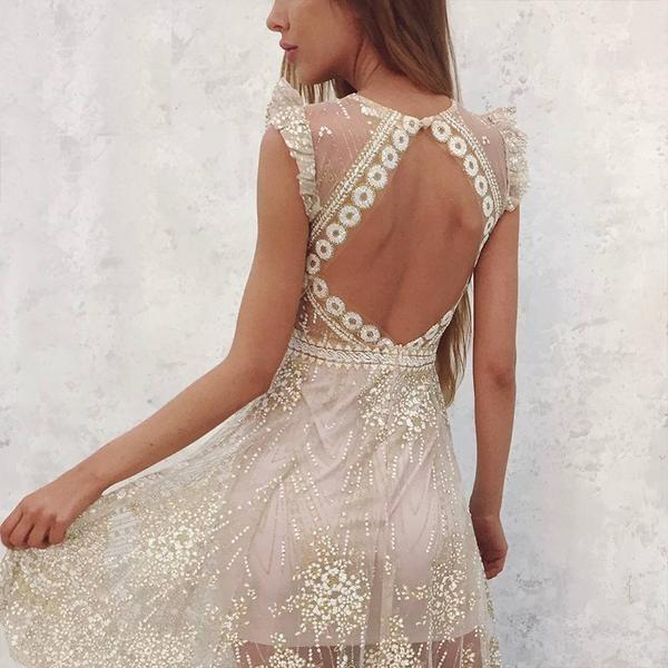 Sexy V Neck Mesh Sequins Long Backless Evening Dress Verkadi.com