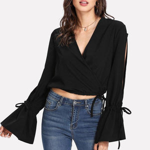 Sexy Long Flare Hollow Out Sleeve Chiffon V Neck Crop Top Blouse Verkadi.com