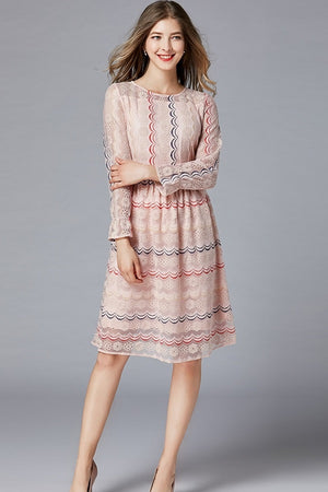 A-line Long Sleeves Lace Plus Size Midi Dress