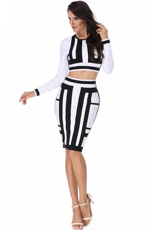 Cool Two Piece White Black Patchwork Bodycon Mini Dress