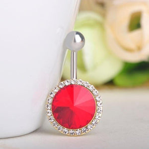 Fashion Red Round Rhinestone Navel Piercing Belly Button Ring Verkadi.com