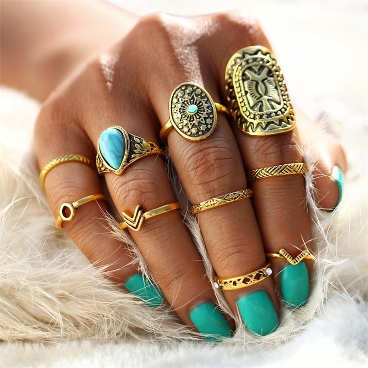 Hip Pattern Mix Finger Midi Vintage Ring Sets Verkadi.com