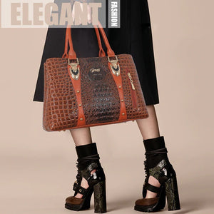 Alligator Skin Design Luxury Women Leather Tote Handbag