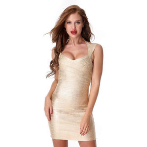 Hot Bandage Gold V-neck Evening Party Bodycon Dress Verkadi.com