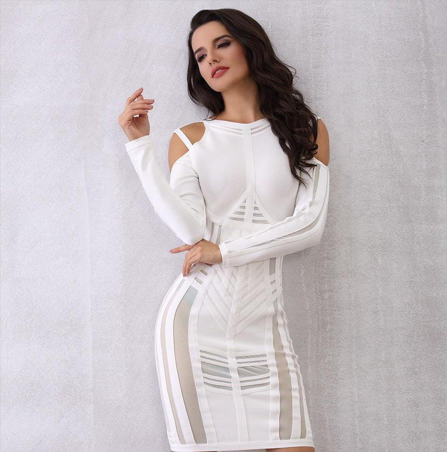 Smart Bandage Long Sleeve Mesh Evening Party Dress Verkadi.com