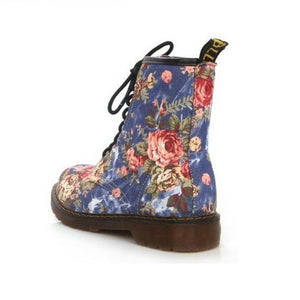 Hip Lace Up Round Toe Flowery Print Street Wear Ankle Boots Verkadi.com