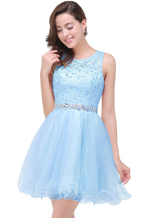 Beaded Scoop Neck Soft Tulle Party Prom Mini Dress Verkadi.com