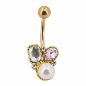 Multi Color Crystal Pearl Navel Piercing Bell Button Ring Verkadi.com