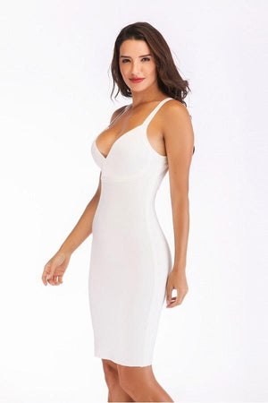 Spaghetti Strap Bandage Open Back V Neck Bodycon  Dress