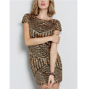 Hot Sequin Backless Sparkly Bodycon Mini Club Party Dress Verkadi.com