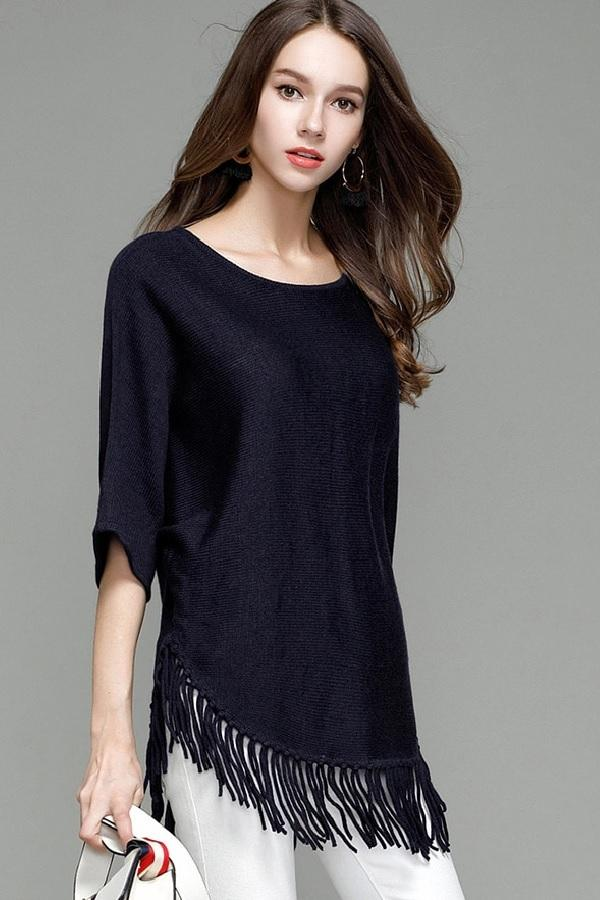 Knitted Bat-Wing Tassel Sleeve Sweaters Pullovers Tops