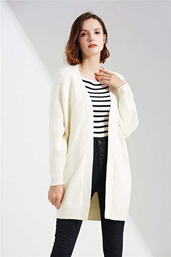 Open Stitched Soft Long Full Sleeve Knitted Sweaters Cardigans