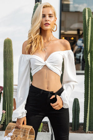 Sexy V Neck Crop Top Long Sleeve Casual Blouse Top Verkadi.com