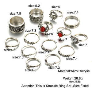 Trendy 14 pcs Vintage Moon And Sun Midi Ring Set Verkadi.com