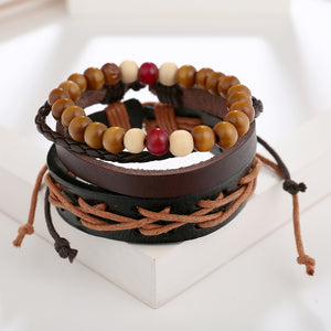 Leather Wood Beads Rope Wrap Multi-Layer Bracelet