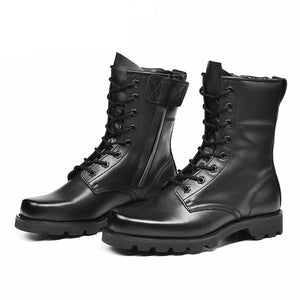 Genuine Leather Black Military Style Tactical Boots