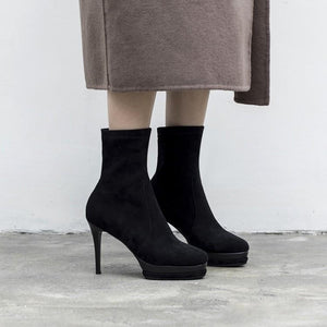 Sexy Euro Stretch Fabric Pencil Heel Platform Mid Calf Boots Verkadi.com