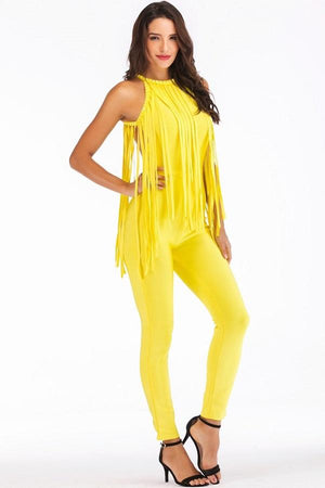 Yellow Tassel Bandage Sleeveless women Jumpsuits Dresses