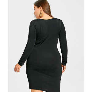 Sexy Lace Up Surplice Deep V Neck Bodycon Party Dress