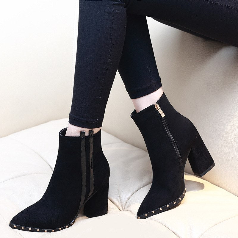 Stylish Pump Flock Square High Heels Riveted Ankle Boots