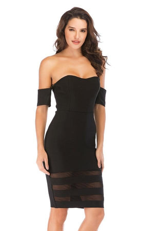 Off Shoulder Hollow Out Bandage Mesh Black Midi Dress