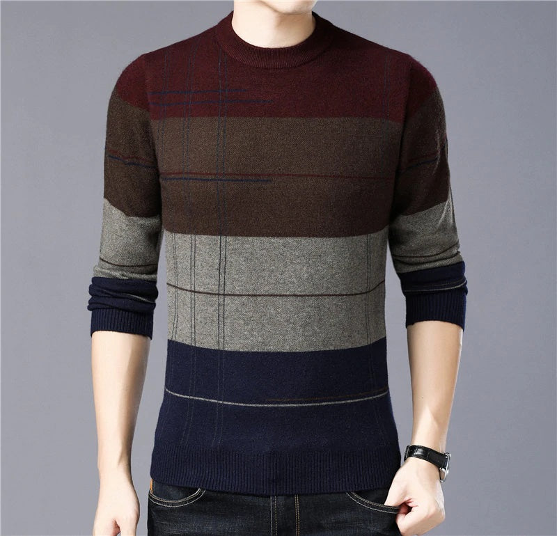 Designer Thick Warm Knitted Cashmere Wool Sweater Pullover