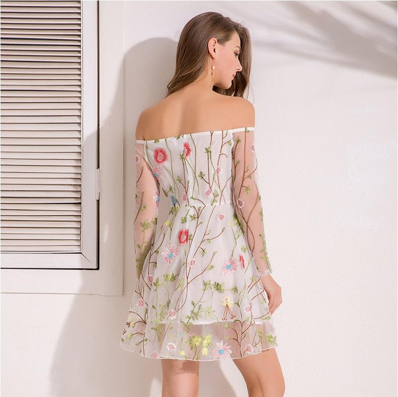 Mesh Floral Embroidery A-Line High Street Dress