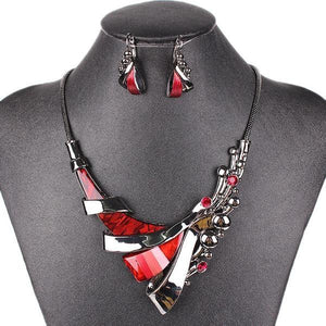Gunmetal Plated Crystal Resin Jewelry Set Verkadi.com