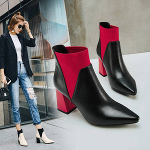 New Twin Color Pointed Toe Slip On High Heel Ankle Boots