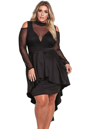 Sexy Long Sleeve Cold Shoulder Club Party PLUS SIZE Dress