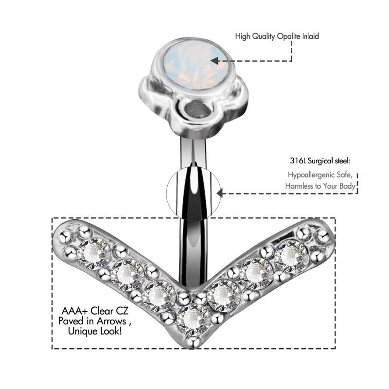 Trendy Clear Cz Arrow Navel Piercing Belly Button Ring