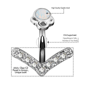 Trendy Clear CZ Arrow Navel Piercing Belly Button Ring Verkadi.com