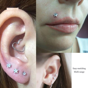 4 Piece Nose Ear Lip Star Pattern Piercing Set
