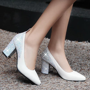 Sexy Bling Design Square High Heels Pumps Sandals