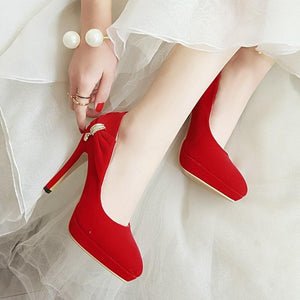 Elegant High Heels Crystal Pointed Toe Pump Shoes Verkadi.com